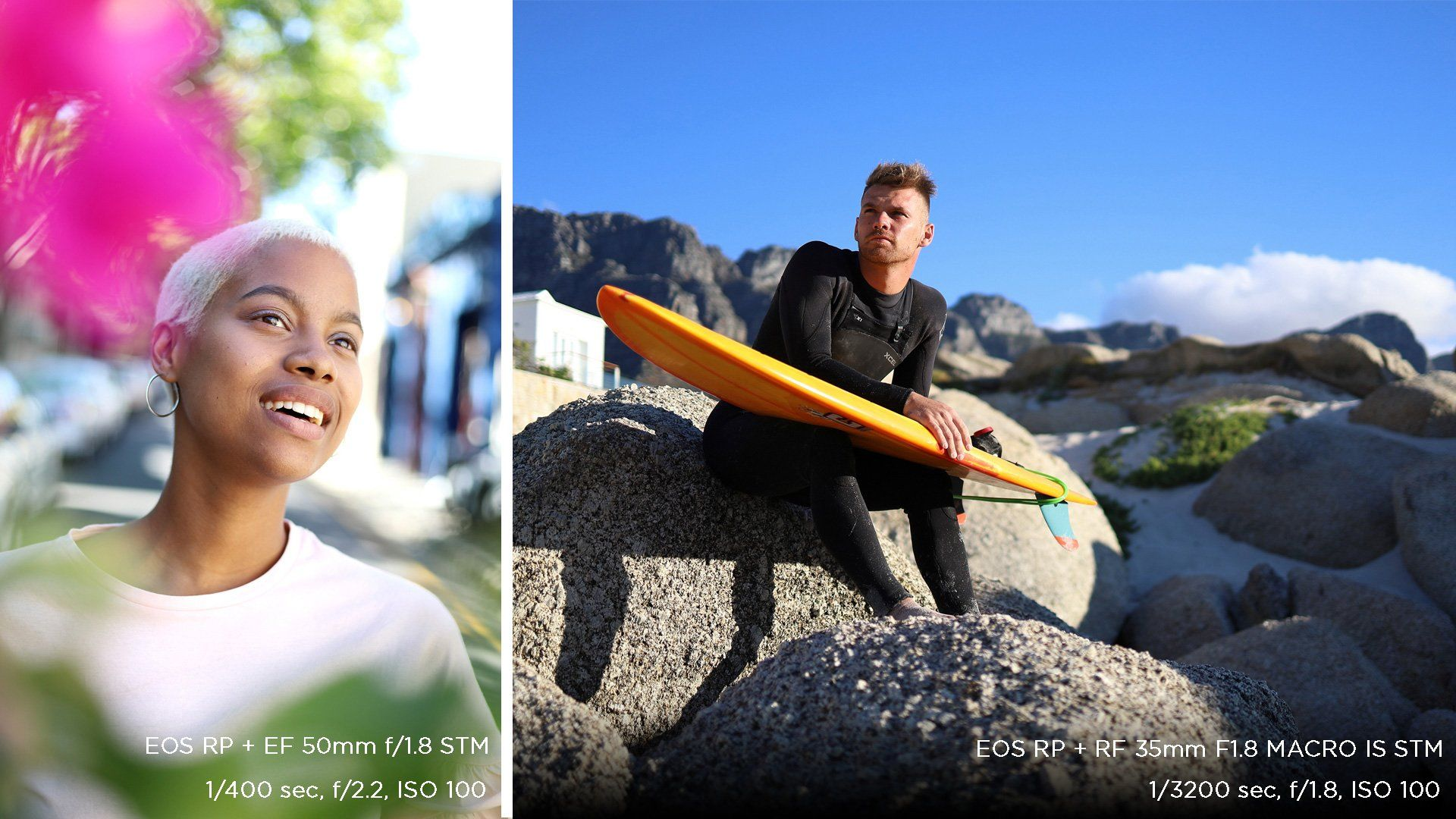 A composite picture: a smiling young woman beside out of focus flowers in one shot; and a surfer sits on some rocks with his surfboard in the other. Photos taken on a Canon EOS RP.